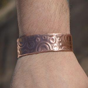 Mens Copper Embossed Cuff Bracelet Circles Rustic